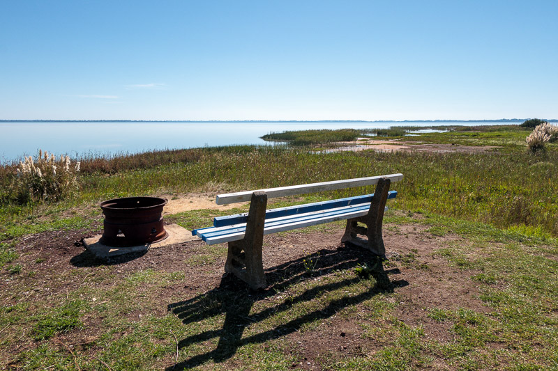 Australia-Colac-Cape Otway-Driving - This seat is here overlooking the lake and a metal drum thing you can burn snakes in.