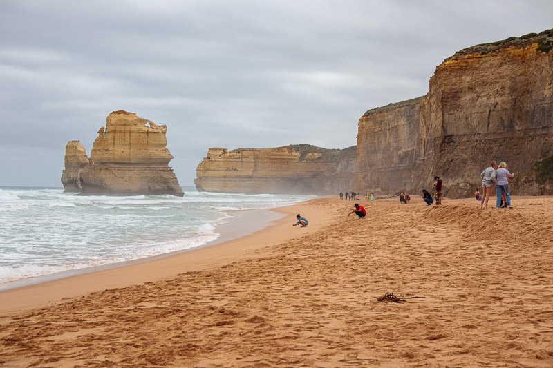 Australia-Cape Otway-Twelve Apostles-Port Campbell - More beach, now with people, and cliffs. I kicked the cliff of course.