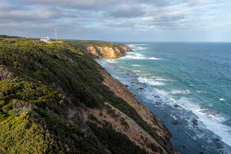 Australia-Cape Otway-Twelve Apostles-Port Campbell - Great views from the top of the lighthouse in the late afternoon sun with cloudy skies.