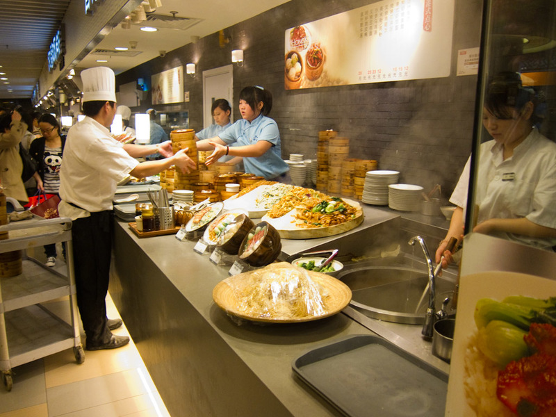 China-Shanghai-Xintandi-Museum - For my lunch I ventured back to Food Republic to use my card. The girl on the right is making my lunch fresh, I prefer that to the stuff that has been