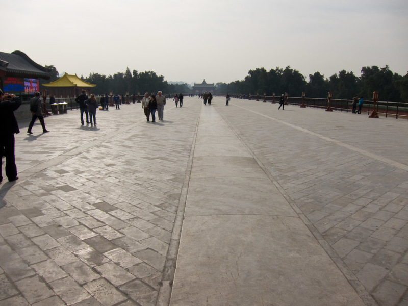China-Beijing-Temple of Heaven - Walkway to the next part of the temple, part of it was being re laid, and the sealer was being applied by an army of old folks.