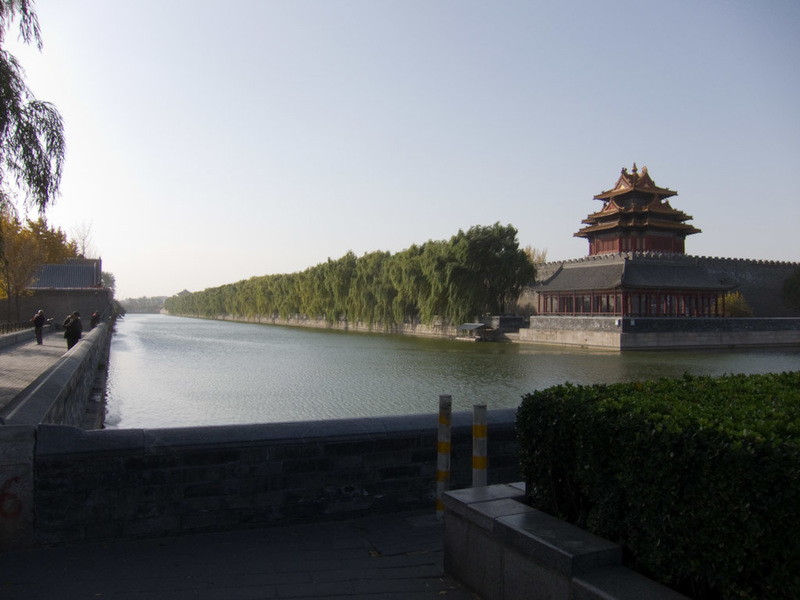 China-Beijing-Military-Museum-Beihai Park - Passing the forbidden city, which is encircled by a moat. People seem to fish in it.