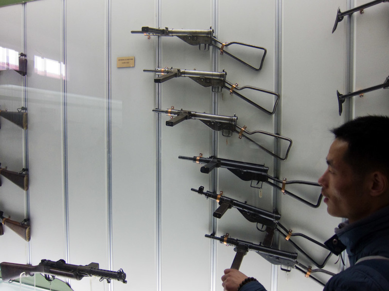 China-Beijing-Military-Museum-Beihai Park - Submachine guns, everyones favourite from computer games, when the clip sticks out sideways it makes it cooler.