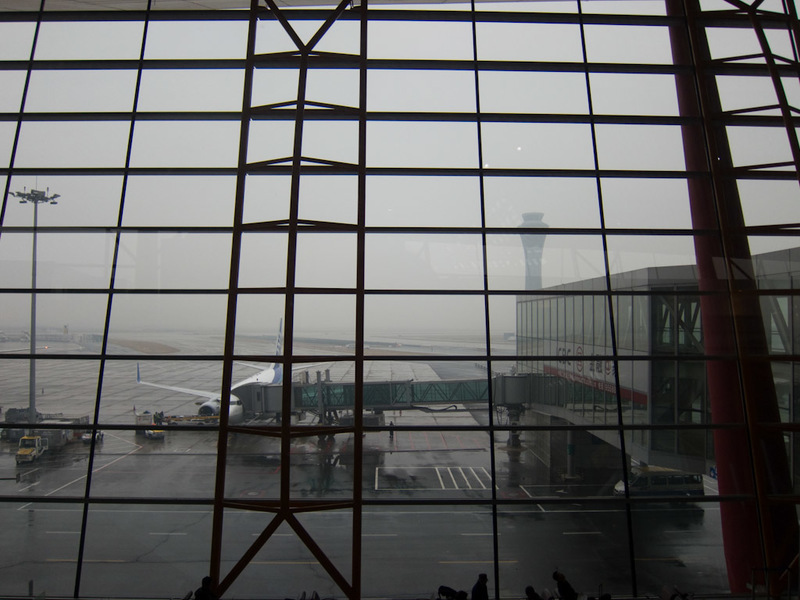 China-Beijing-Airport-Train-Lounge - Not a lot I can see out the window due to fog unfortunately.