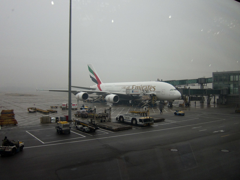China-Beijing-Hong Kong-Airport-Lounge - Emirates have their a380 here, with no one on it.