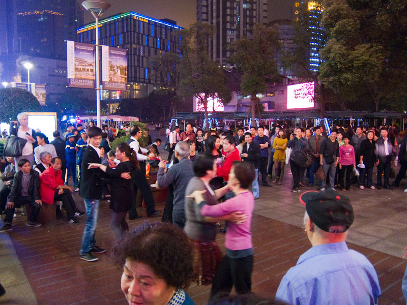 China-Shanghai-Nanjing Road-Dancing - Day ends as it begun, mass ballroom dancing.