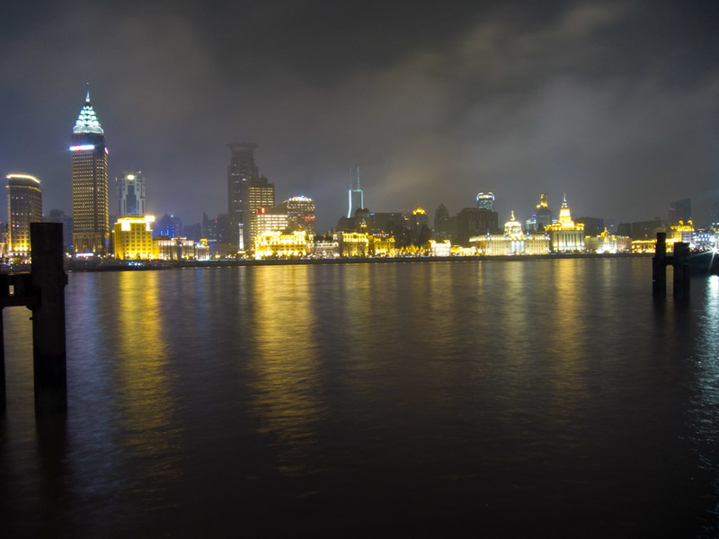 China-Shanghai-Pudong-Beef-Neon - Looking across the river at the Bund.