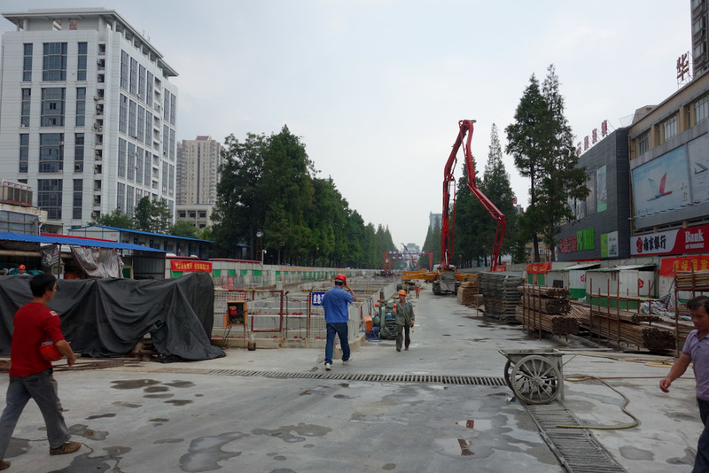 China-Nanjing-Hiking-Purple Mountain - This is the metro line under construction behind my hotel. I just wandered in an open gate and acted like I owned the place. No one seemed to mind. Th