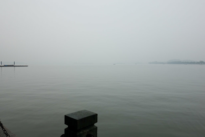 China-Hangzhou-West Lake-Fog - When I got to the lake, this was the view. Very inspiring. Inspiring if you like a sea of grey nothingness, which I do!