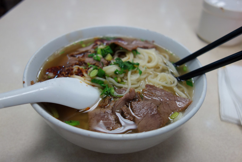 China-Nanjing-Hunan Road-Beef - Heres my noodles, they were good, but too many noodles, I didnt eat them all. More beef compared to Shanghai, but then it was almost $2 so a bit more