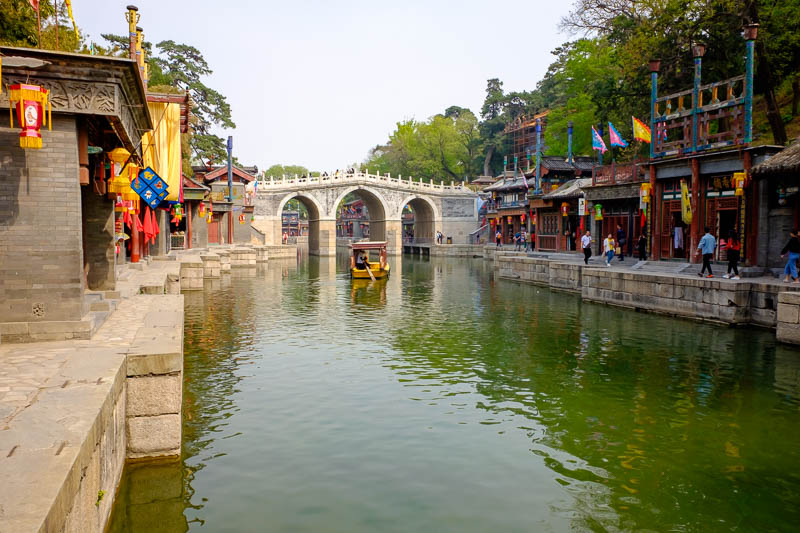 China-Beijing-Summer Palace - Second to last photo, Suzhou street with a bridge.