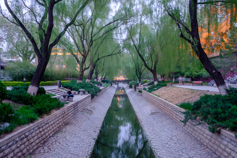 China-Beijing-Tiananmen Square-Qianmen - I remembered this garden from last time I was here. Still here, still great. This photo was taken right at dusk, hence the funky lighting.
