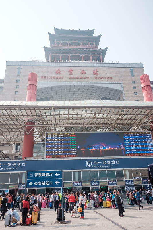 China-Beijing-Zhengzhou-Bullet Train - Here is a small part of the station, I could not get it all in the photo, to do so would mean trying to cross the road, there were fences to prevent t