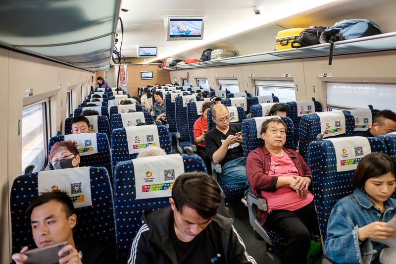China-Beijing-Zhengzhou-Bullet Train - The inside of the train. These are very long trains, there are 3 classes, I am in the cheapest class of course, I travel among the people. There are a