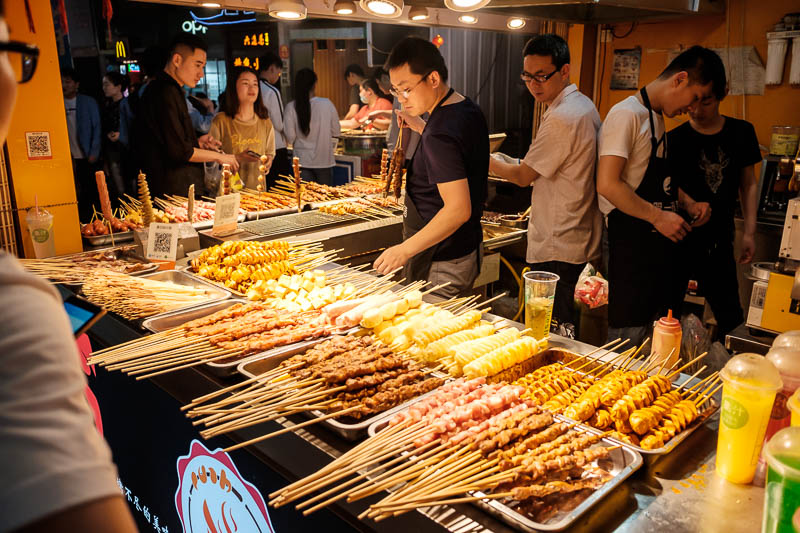 China-Zhengzhou-Food-Erqi Square - Various meats on sticks for your dining pleasure. Maybe dog! Who knows?