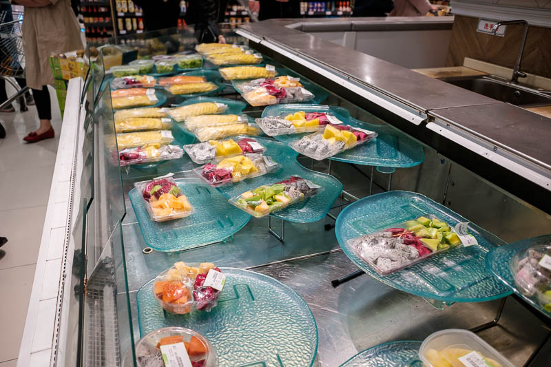 China-Zhengzhou-Food-Mall - Where as China has a fruit salad bar, old women were busy cutting it up fresh to order, I selected from one of the pre cut options. I always enjoy fru