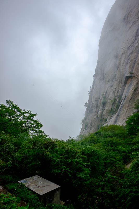 China-Hiking-Rain-Huashan-Soldiers Path - Another brief break in the fog, and when I say break in the fog, I mean slightly less dense fog.