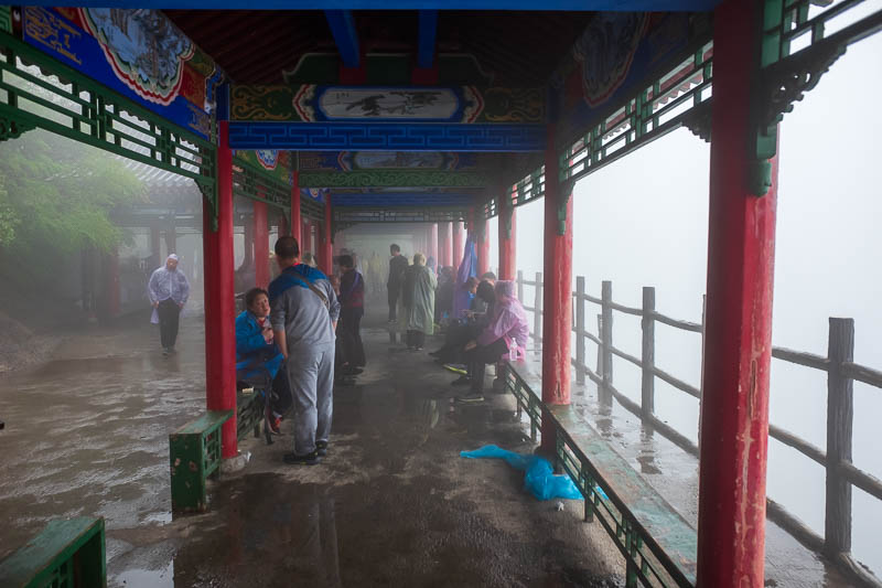 China-Hiking-Rain-Huashan-Soldiers Path - And here is the summit of the North peak, so much fog.