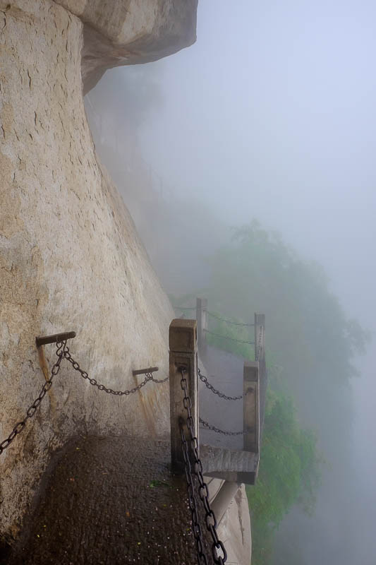 China-Hiking-Rain-Huashan-Soldiers Path - Although it was the same path that I took on the way up, it occasionally split for going up and going down direction, I followed the signs that litera