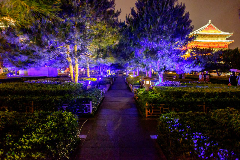 China-Xian-Food-Bell Tower - Here we have some trees lit up with blue lights, whats that to the right?