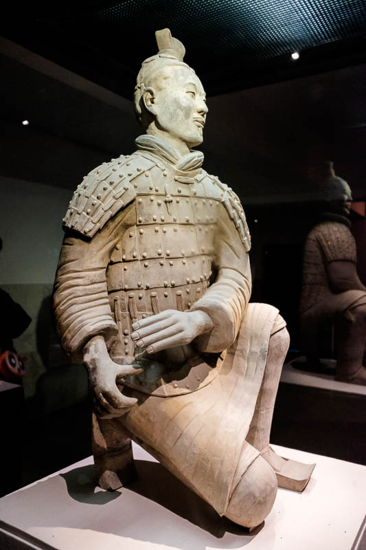 China-Xian-Terracotta Army - Here is a particularly well restored warrior. Notice he still has his thumb! Recently in the USA a man took a selfie with one of them that was there v