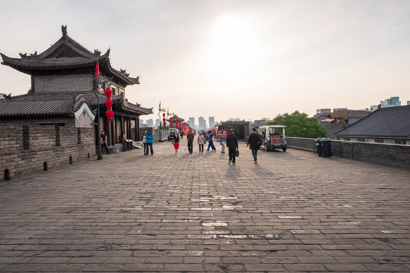 China-Xian-City Wall-Hiking-Dumplings - Time to head off into the sunset, target number 1, those 3 buildings on the horizon.