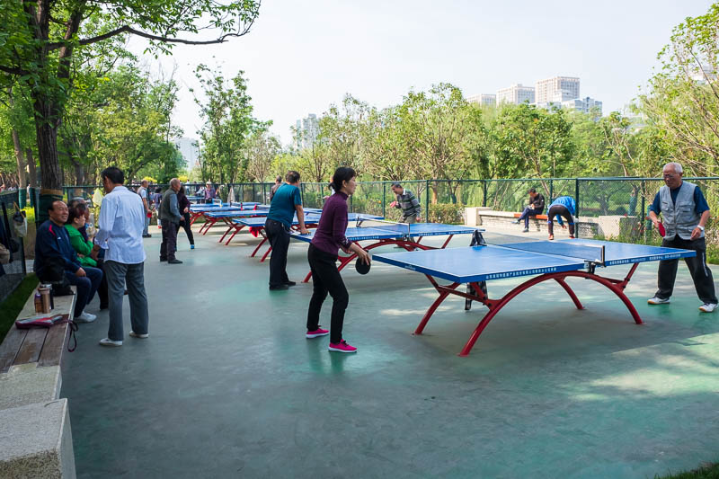 China-Xian-City Wall-Muslim Quarter - I once again defeated everyone at ping pong. I am still undefeated.