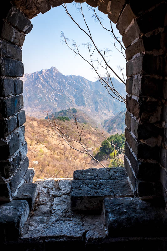 China-Great Wall-Mutianyu - Mountains through window.