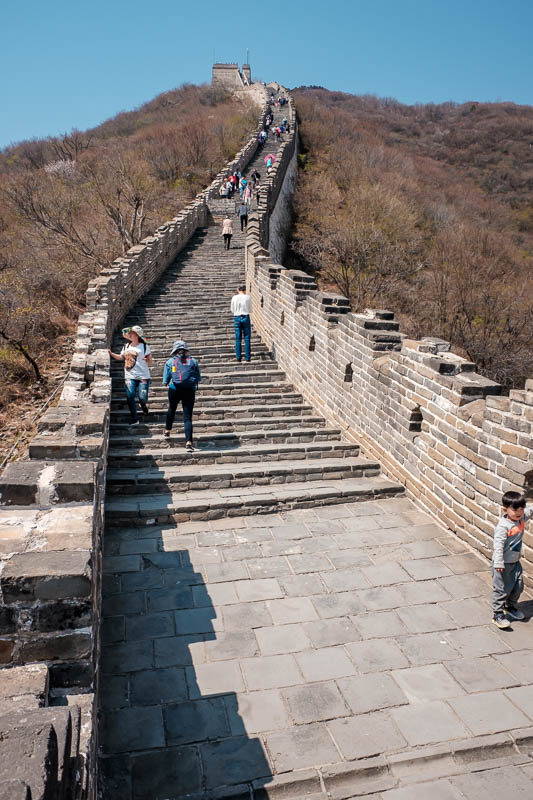 China-Great Wall-Mutianyu - Still more big stairs to go. One of the highlights for me was seeing people, grown adults, having a full on sit on the ground tantrum declaring they c