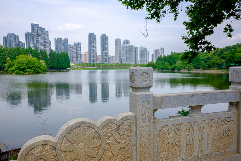 China-Wuhan-East Lake-View - Enjoy part of the lake, a bridge, part of the Wuhan skyline.