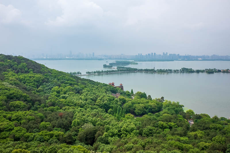 China-Wuhan-East Lake-View - Time for a bit of view from the top, strange blinding grey light!