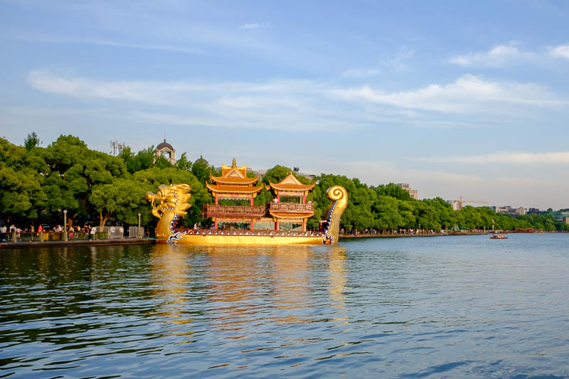 China-Hangzhou-West Lake-Temple of God - There are lots and lots of similar boats that fill the lake on the weekends.