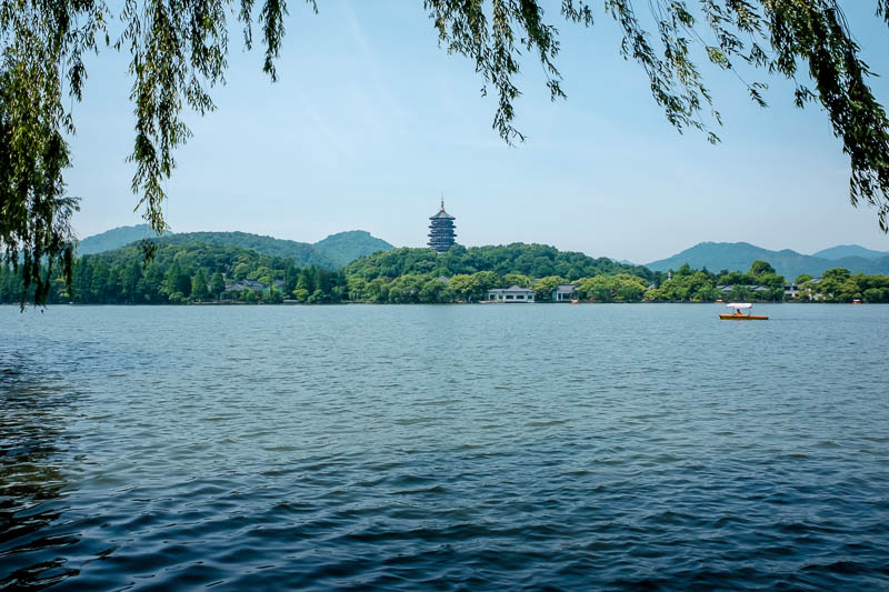 China-Hangzhou-West Lake-Hiking - One of the main stops for most people is this pagoda. Many mini buses go here. I walked here obviously since I walked the whole way, but I did not pay