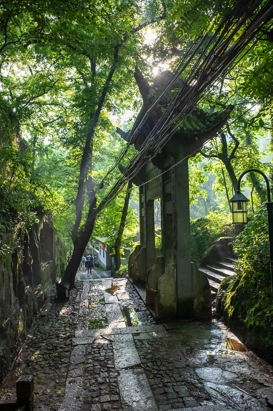 China-Hangzhou-View-Hiking-West Lake - I found my path, here we have a gate, fog, steps, bundles of electrical wires.