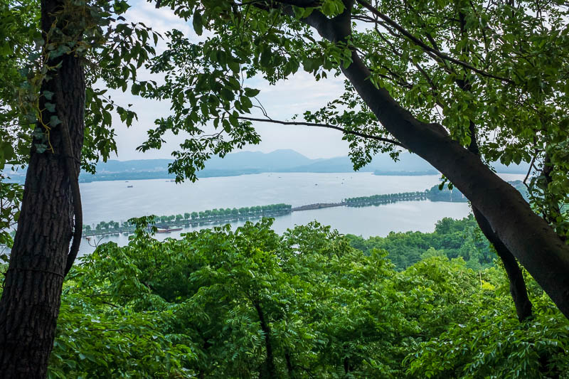 China-Hangzhou-View-Hiking-West Lake - The lesser causeway in the lake.