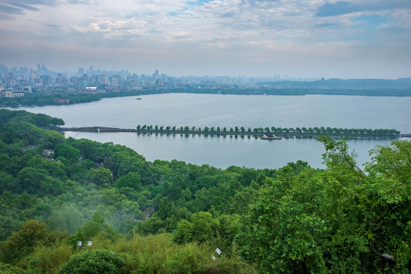 China-Hangzhou-View-Hiking-West Lake - Have a bit more lake, and fog leaving the forest.