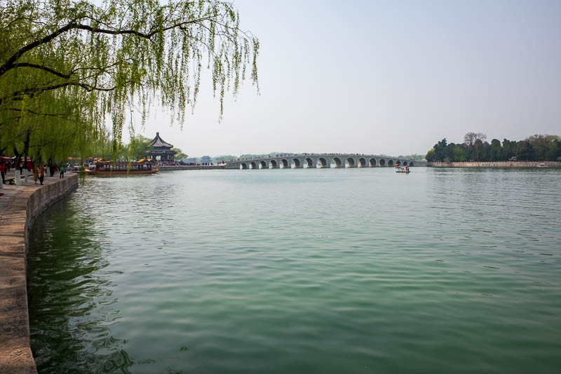 China-Beijing-Summer Palace - Here is an old bridge to an island. I needed a zoom lens today (my camera is a fixed prime lens), and of course it would be good if the pollution disa