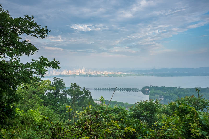 China-Hangzhou-View-Hiking-West Lake - There was a chance for one last view of the sun hitting parts of the tourist side of Hangzhou.