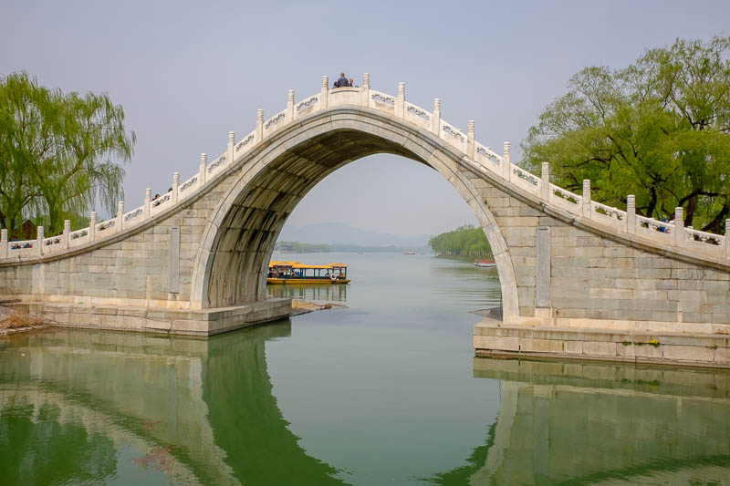 China-Beijing-Summer Palace - Here is another bridge. The water was very clean, in some of my photos it looks greener than it was. Possibly reflections from all the awesome trees.