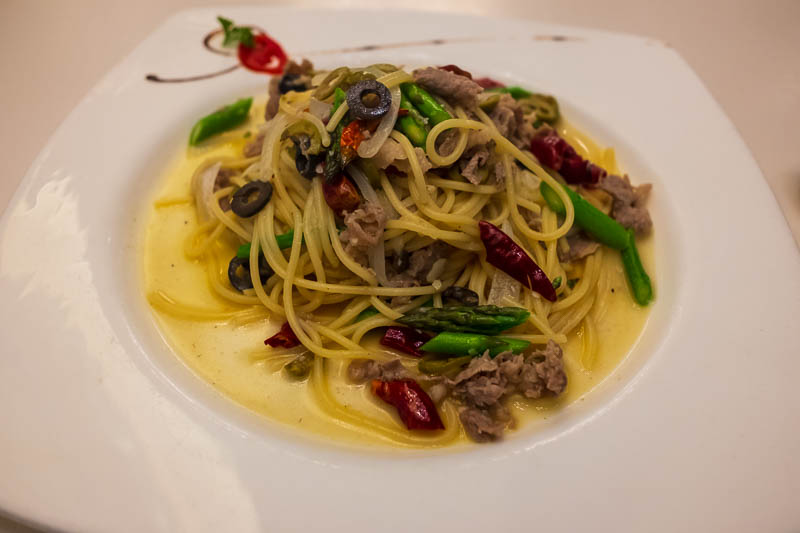China-Shanghai-Architecture-Pasta - Pasta night! It did not look like the photo on the menu. The menu said vegetable and chilli wholegrain pasta with olives. I guess I kind of got that b