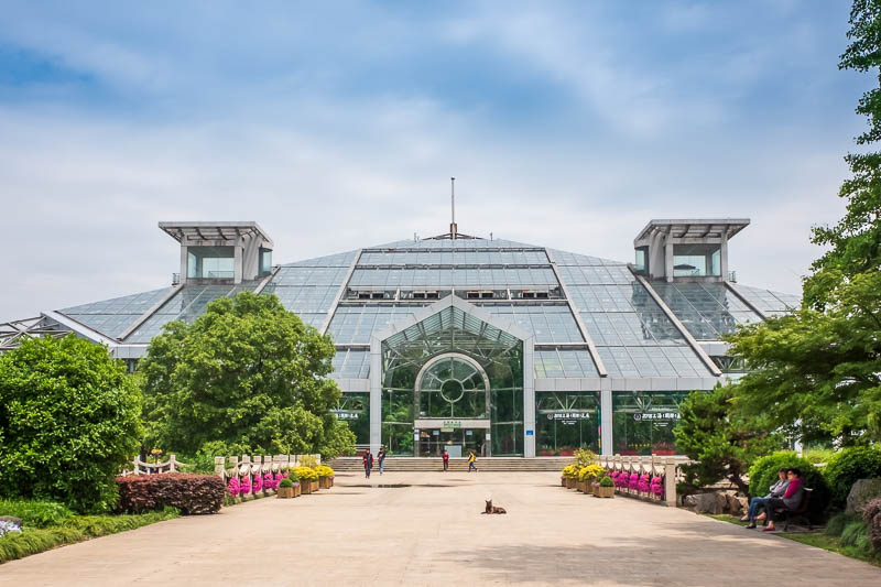 China-Shanghai-Botanic Garden-Flowers - Here is the tropical conservatory, Adelaide (my old home town) has one of these, it was built to celebrate the 150th birthday of Adelaide. It is highl