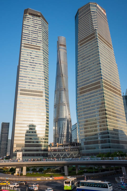 China-Shanghai-Sunshine-Architecture - The worlds second tallest building, now called the drain pipe, flanked by smaller neighbours in the foreground.