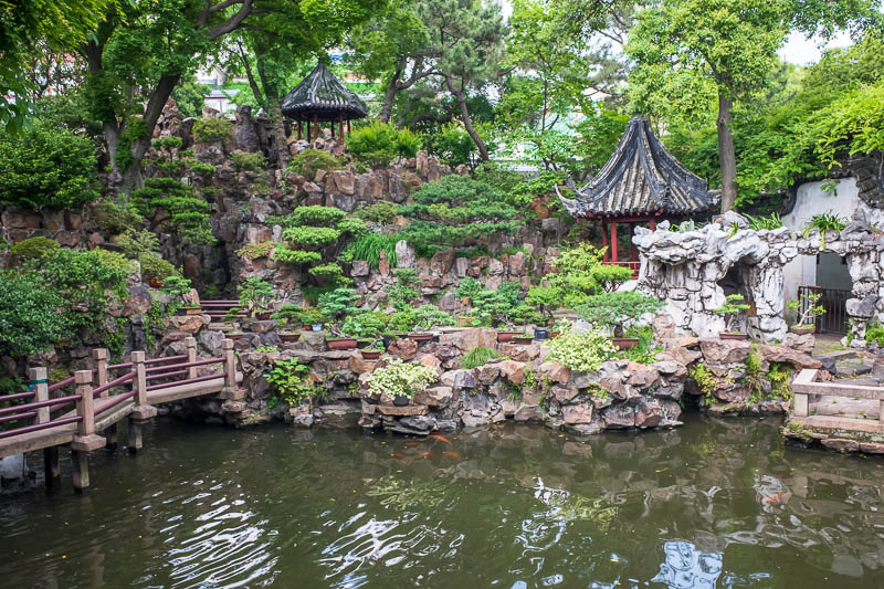 China-Shanghai-Park-Yuyuan Garden - At first I was a little disappointed, its a rock garden with a few bonsai, didnt look very impressive.