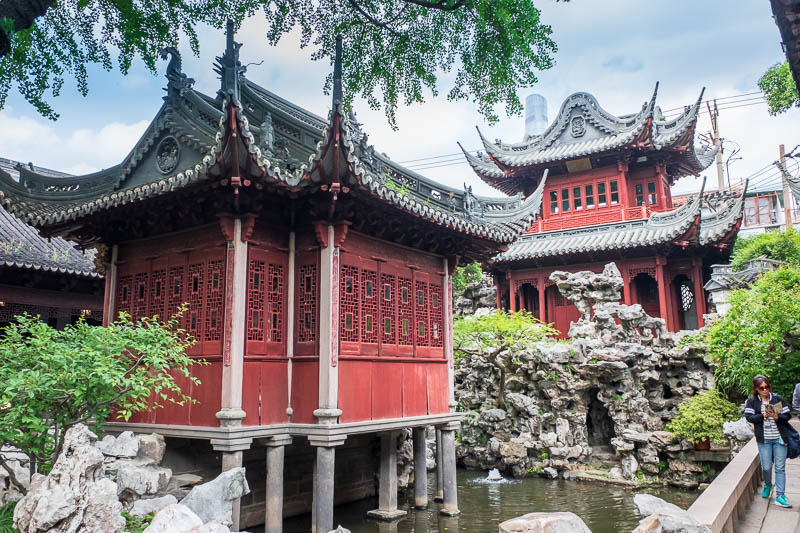 China-Shanghai-Park-Yuyuan Garden - I believe these are genuinely old, also you can see the new drain pipe building towering above it all!