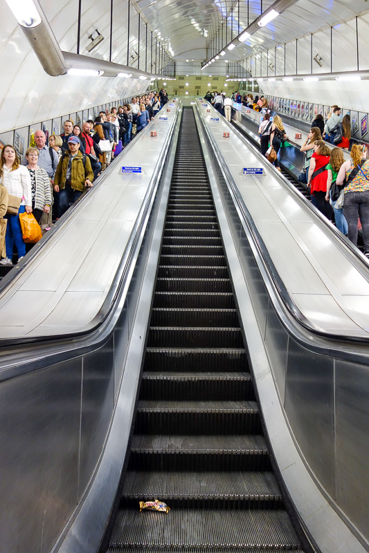 England-London-Stratford-Mall-Salad - My frequent flyer status allows me to use the high class escalator in each tube station.