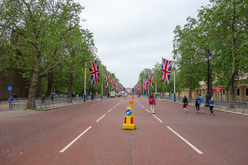 England-London-Buckingham Palace - Then I found myself on the mall, with flags again, but also barriers for some kind of race.