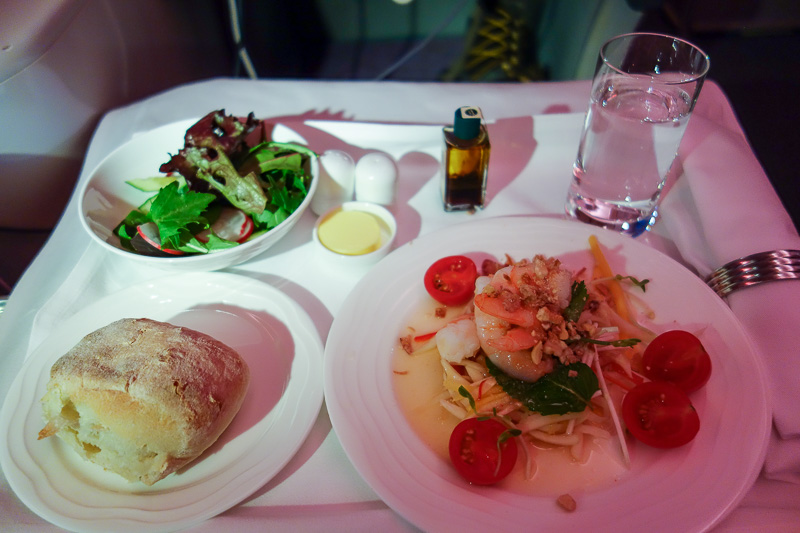 Melbourne-Emirates-Airbus A380-Business Class - Part 1 of meal 2 - I tried to choose the lighter options