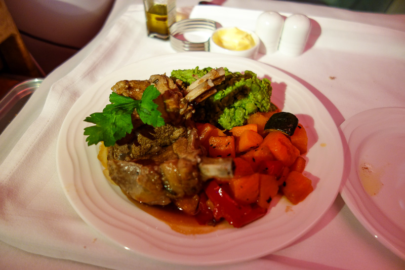 Melbourne-Emirates-Airbus A380-Business Class - Part 2 of meal 2 - the lamb was actually delicious. No I dont want wine, no wine, I dont drink, please stop offering me wine, for the last time I dont
