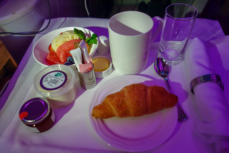 Melbourne-Emirates-Airbus A380-Business Class - Meal 3 - there were about 8 breakfast options, I chose the light express option due to there being so many meals already and presumably a heap more to