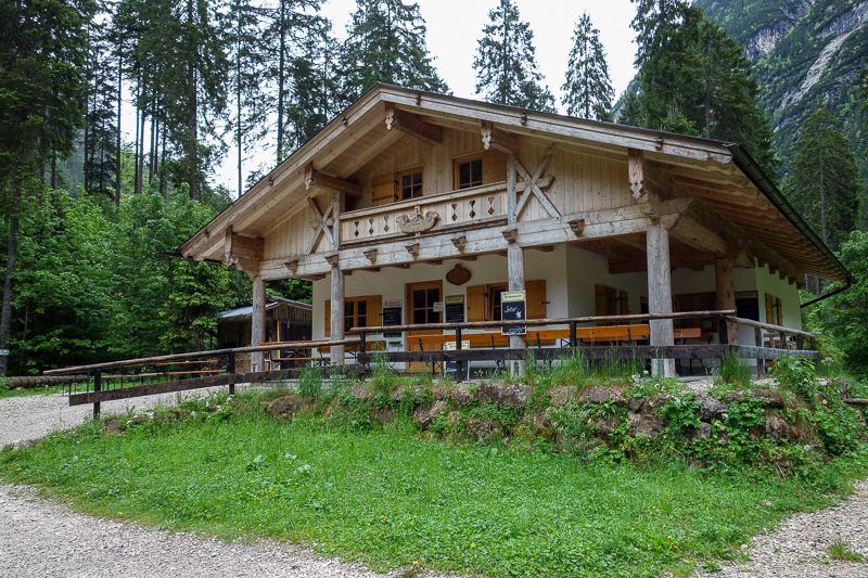 Germany-Garmisch Partenkirchen-Hiking-Zugspitze-Snow - Here is the first hut. No one there, opens at 11am for day trippers keen to make a 4.5 hour round trip for a beer in the valley.